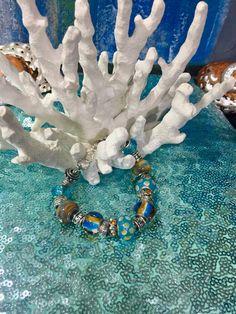Murano beaded Tibetan Silver charm bracelet by Frankgilldesign on Etsy