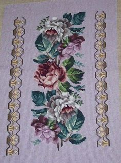 Needlepoint Designs, Cross Stitch Flowers, Cross Stitch Charts, Tribal Art, Diy Flowers, Cross Stitching, Upholstery, Embroidery, Beads