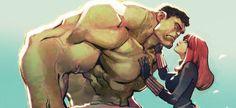 The Hulk and Black Widow by Joël Jurion *