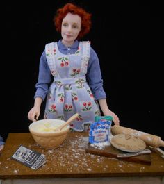 Mum, baking 12th scale miniature doll and baking table IGMA Artisan by juliecampbelldolls on Etsy