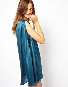 2nd Day Cutdana Silk Casual Swing Dress in Legion Blue Size 36 UK 8/US 4
