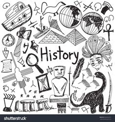 History education subject handwriting doodle icon of landmark location culture sign and symbol white isolated background paper used for presentation title with header text, create by vector #It'sAllInThePast