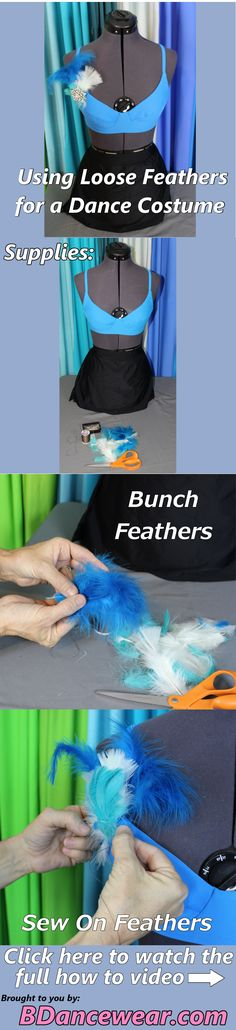 How to use loose feathers for a dance costume.