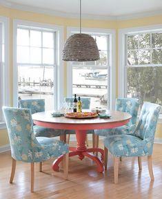 Coastal Dining Room | Maine Cottage #colorfulfurniture
