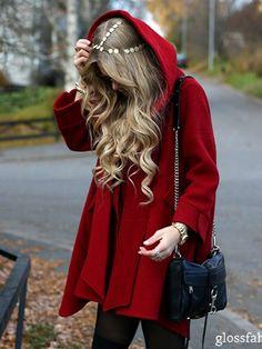 CoatRed coat hooded coat Womens Coats Wool Coatlong Coat