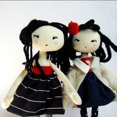 "M I C H I  - 11"" handmade lovely fashion fabric doll, gift box, best friend, cloth doll. $39.00, via Etsy."