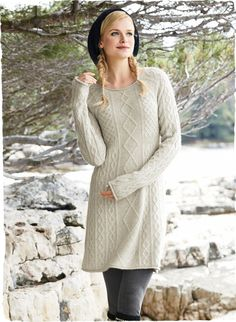 Peruvian Connection | Brighton Cable Dress knit of blissfully soft and frothy woolen-spun #royalalpaca
