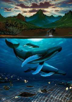 Dawn of Creation by Wyland - Whales in the Ocean