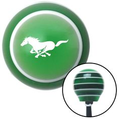 White Mustang Green Stripe Shift Knob with M16 x 15 Insert - Give your interior the ultimate look. American Shifter's Elite(TM) series shift knobs are made from the highest quality components resulting in a superior feel on every shift. Each shift knob is designed and customized in the USA by skilled shift knob artisans who have a trained eye on every detail. American Shifters shift knobs offers an exclusive aluminum threaded insert designed to be screwed onto your shift arm. You should…