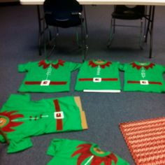Homemade teacher elf shirts made for a Christmas celebration Friday at school.