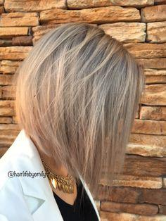 Silver bob grey hair warm lighting rose gold hair short hair gray dimensional color platinum hair