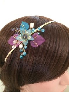 Flower girl tiara headband, gold flower girl headband, flower girl blue and purple headpiece, flower girl hair accessories, flower headband