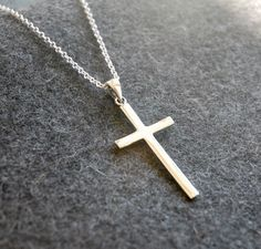 Sterling silver cross necklace Cross Jewelry, Silver Jewelry, Silver Rings, Mens Crosses, Sterling Silver Cross Pendant, Christian Jewelry, Metal Necklaces, Minimalist Jewelry, Necklace Designs