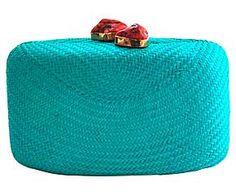 Pochette modello Clutch in paglia e con pietra Jen turchese e rossa - 20X11X5 cm