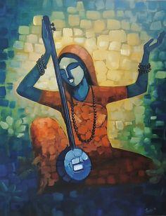 Meera Bai - Handpainted Art Painting - X Buddha Painting, Krishna Painting, Buddha Art, Krishna Art, Gond Painting, Watercolor Painting, Indian Art Paintings, Modern Art Paintings, Abstract Paintings