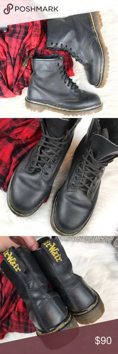 Vintage Doc Marten 8 Eyelet Vintage Doc Marten Black Lace Up Boots Size 9 Made In England 8 Eyelet Dr. Martens Shoes Ankle Boots & Booties