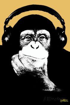 オールポスターズの スティーズ(Steez)「Headphone Chimp - Gold」プラスチックサインボード