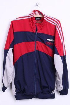 Adidas Mens M/L Sweatshirt D6 F180 Navy Red Tracksuit Top 3 Stripes - RetrospectClothes