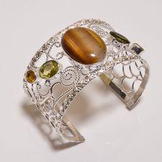 Wonderful Tiger's Eye .925 Silver Handmade Bangle Cuff Jewelry R1404 #Handmade