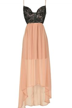 Black and Nude Embellished Lingerie-Inspired High Low Dress  www.lilyboutique.com