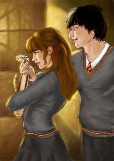 Harry surprises Hermione with a flower. Harry looks a bit spazzy but oh well, you. A Flower For Hermione Harmony Harry Potter, Harry Potter Ships, Harry James Potter, Harry Potter Fandom, Harry Potter World, Hermione Fan Art, Harry And Hermione Fanfiction, Harry Potter Hermione, Harry Potter Anime