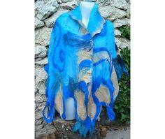 Felt Shawl CapeFelt ShawlLarge Royal Blue ShawlBlue Wool