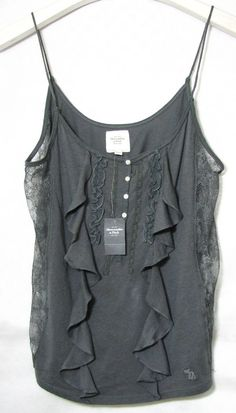 NWT Abercrombie & Fitch Gray Top Blouse Cami with Frills and lace Size L #AbercrombieFitch #TankCami #Casual