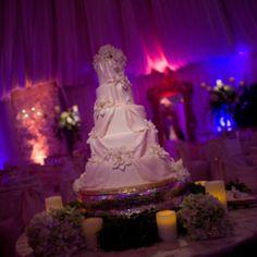 Wedding cake: love the draping effect