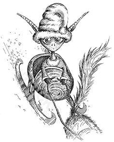 Elf Riding Sleigh. Artwork by 'Trick. TricksPlace.com