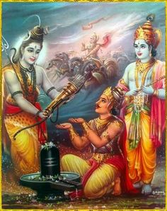 Lord shiva gave arjuna a bow and many arrow for his devotee, with the weapons and lord Krishna by his side. He won the war.