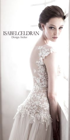 Bridal gown in beaded lace, sheer back, unlined tulle skirt Bridal Gowns, Wedding Dresses, Beaded Lace, Wedding Designs, Tulle, Bride, Skirts, Fashion, Atelier