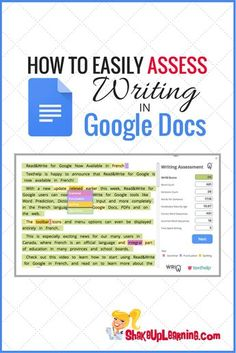 How to Easily Assess Writing in Google Docs: WriQ is a FREE tool that helps teachers assess writing in Google Docs. This Google Docs add-on helps teachers not only assess writing, including grammar, punctuation, spelling and more but also helps teachers track progress over time.