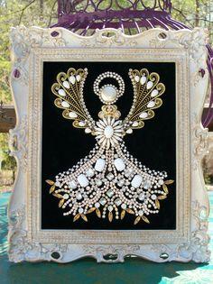 Vintage Jewelry Christmas Tree Angel Art, Gold , Silver,Rhinestone , and Milk Glass