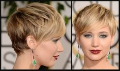 jennifer lawrence short hair images | Jennifer Lawrence at the 2014 Golden Globe Awards