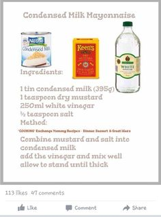 Condensed Milk Mayonnaise Retro Recipes, Egg Recipes, Cooking Recipes, Cooking Ideas, Salad Recipes, Recipes Using Condensed Milk, Sweet Condensed Milk, How To Make Mayonnaise, Egg Mayonnaise