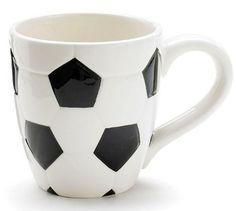 """Soccer Ceramic Sports Mug Planter - 13 Ounce - 4"""""""" x 3.5"""""""""""