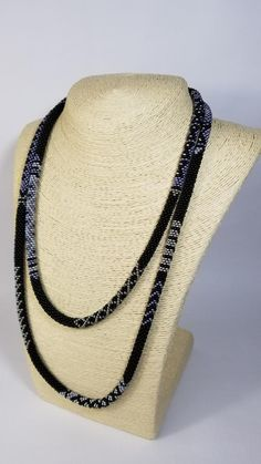 Black Long Necklace - Bead crochet Lariat - Seed Bead Necklace - Women Jewellery - African Stripe - Wrap Necklace - Beaded Jewelry - Y Rope Beaded Necklace Patterns, Beaded Jewelry, Beaded Necklaces, Seed Bead Necklace, Diy Necklace, Crochet Necklace, Bead Crochet Rope, Necklace Lengths, Women Jewelry