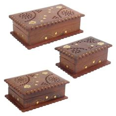 Wooden Box With Brass Leaf Inlay - from £6.50   #boxes