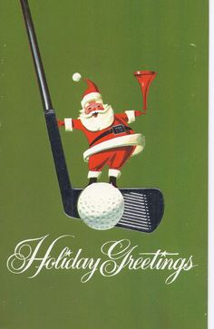 C60 Vintage  Greeting Card  - Christmas Santa with golf club