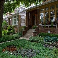Historic bungalows in Chicago look great with full gardens.