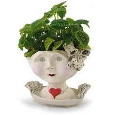 Victorian Woman's Head Planter in Ceramic
