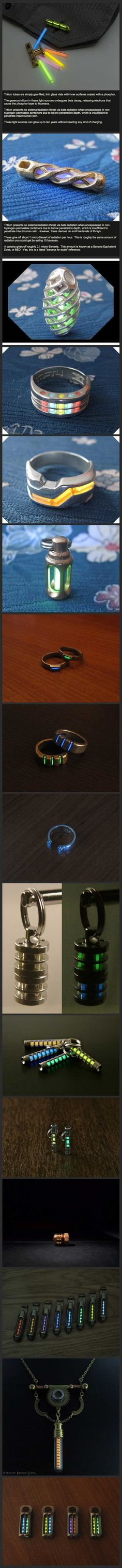 Tritium Jewelry. Cool as hell. Gadgets And Gizmos, Edc Gadgets, Awesome Things To Buy, Things I Need To Buy, Good Things, Cool Stuff, Stuff Stuff, Stuff To Buy, Random Stuff