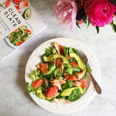 """""""The Grapefruit, Salmon, and Avocado Salad from our #CleanSlate cookbook is easy on the eyes & belly. Lunch inspiration from @peytonperry. Click the link…"""""""