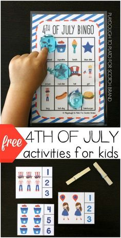 FREE 4th of July activities for kids. 4th of July Bingo and July 4th clip cards. Awesome summer boredom busters.