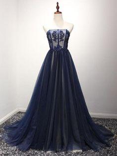 08f8a0b6823 Sexy Prom Dresses Strapless Floor-length Dark Navy Prom Dress Evening Dress  JKL257