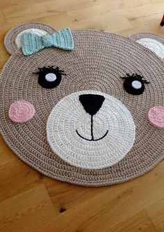 Round crochet rug made with owl graphic Crochet Mat, Crochet Rug Patterns, Crochet Carpet, Crochet Round, Crochet Home, Crochet For Kids, Owl Graphic, Animal Rug, Knit Rug