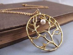 F -Gold Tree Necklace Pendant with Freshwater Pearl Full by IrinSkye