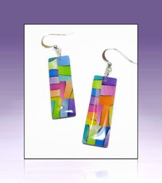 Polymer Clay Watercolor Rainbow Earrings handmade by BeadazzleMe, $16.00