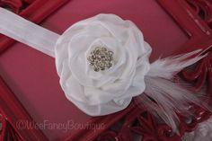 White Satin Headband Rhinestone Embellishment by WeeFancyBowtique