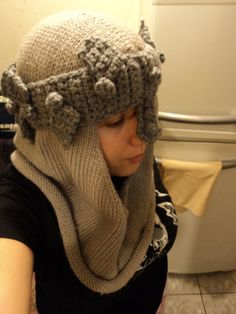 Dante's Inferno Helmet Knitted and Crocheted by ~law-ra on deviantART